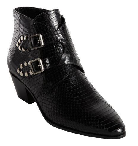 Saint Laurent Python Studded Double Monk Ankle Boot